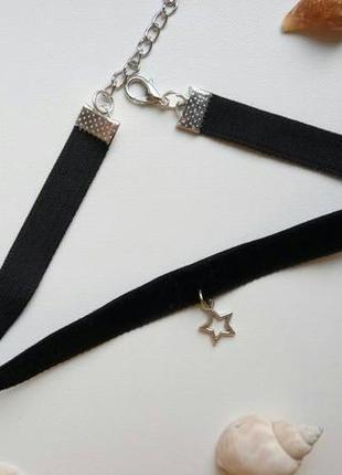 Чокер бархатный черный, с подвеской звезда, зірка, велюровый, ...