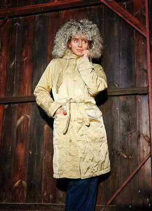Песочная куртка демисезонная пальто на синтепоне zero миди с м...
