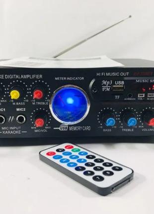 Усилитель звука с Bluetooth, караоке, USB, FM UKC AМР-339BT