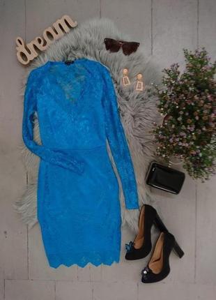Невероятное яркое коктейльное кружевное миди платье №541