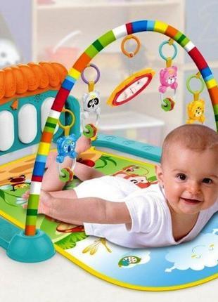 Коврик развивающий для малышей HE0639, пианино, подвески, свет, з