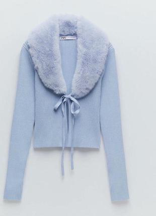 Трикотажная куртка с искусственным мехом zara