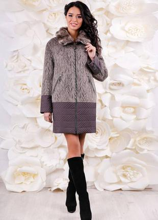 Распродажа: пальто зимнее комбинированное с меховым воротником