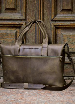 """Делова сумка """"Топ Менеджер"""" оливкового цвета. Офисная кожаная сум"""