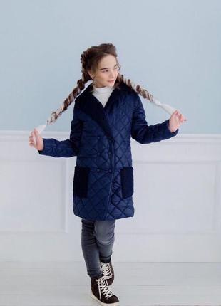 Теплое осеннее стеганное пальто - куртка для девочки