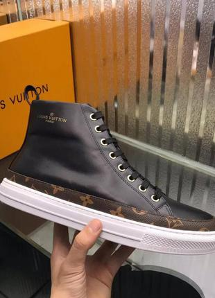 Высокие кроссовки louis vuitton stellar black monogram