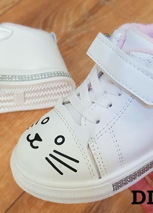 Демисезонные утепленные ботиночки-кеды для девочек, хайтопы,
