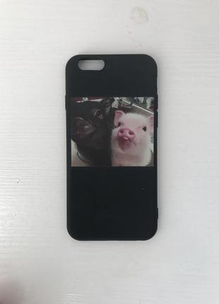 Чехол свиньки селфи черный смешной айфон iphone apple 6\6s