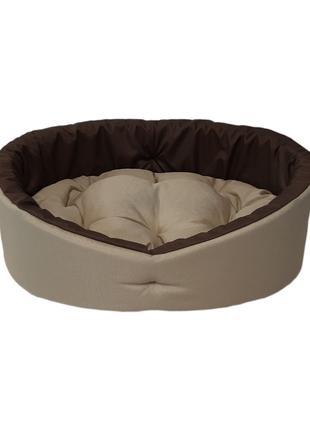 Лежак для собак и кошек. Бежевый с коричневым
