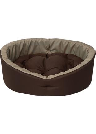 Лежак для кошек и собак. Коричневый с бежевым