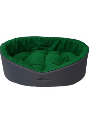 Кровать для животных, лежак для собак и кошек. Серый с зеленым