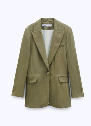 Шикарный оливковый пиджак Zara,M