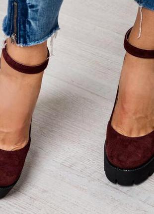 Туфли замш/кожа тракторная подошва