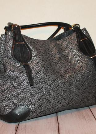 Большая кожаная сумка dkny 100% натуральная кожа+ткань