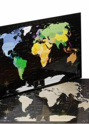Скретч карта чёрная с золотом