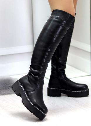 Высокие зимние женские сапоги ботфорты