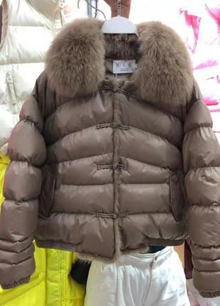 Куртка пуховик с натуральным мехом
