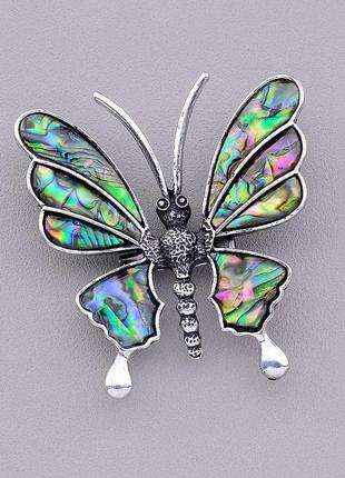 Кулон-брошь бабочка с натуральным камнем галиотис в зелёных от...