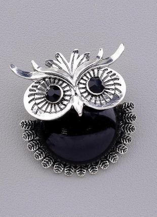 Брошь на одежду сова с чёрным натуральным камнем агат