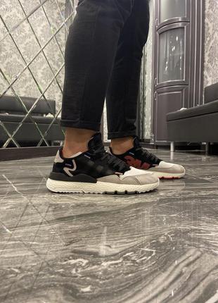 Кроссовки adidas nite jogger 3m black white