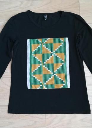 Черный лонгслив, реглан с нашитым квадратом, l/xl