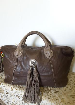 Большая брутальная сумка с кистями натуральная кожа