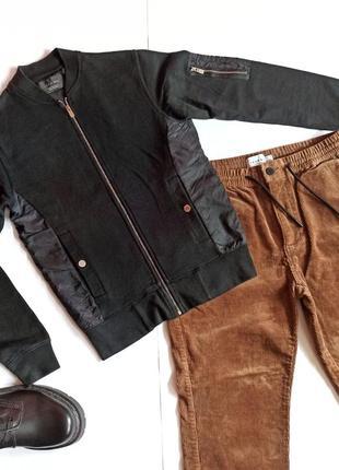 Zara man мужская демисезонная черная куртка ветровка s осень