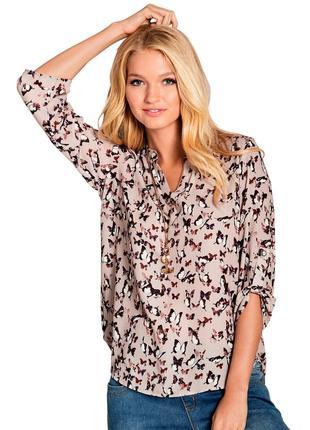 Блуза, рубашка в принт бабочки ambria