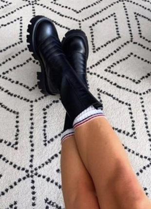 Ботинки женские натуральная кожа в стиле прада боттега гладкие...