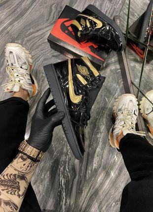 Мужские кожаные кроссовки 🔺nike air jordan 1 retro black gold🔺