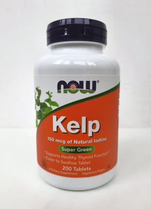 Келп Now Foods Kelp, йод из водорослей, 150 мкг, 200 таблеток