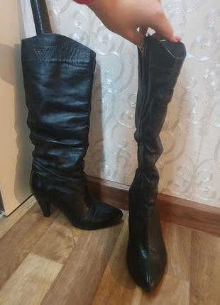Сапоги трубы тренд 23 см 35 размер натуральная кожа ботинки осень