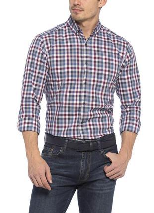 Мужская рубашка lc waikiki / лс вайкики в бело-серо-синие полоски