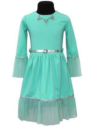 Стильное нарядное платье на рост 116-152см мята