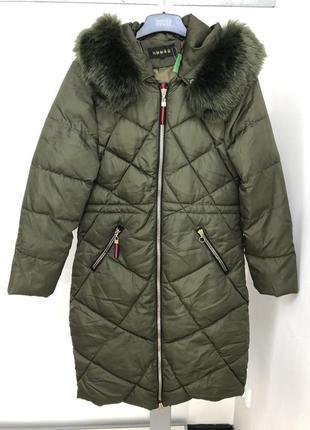Женское стеганое пальто зимнее