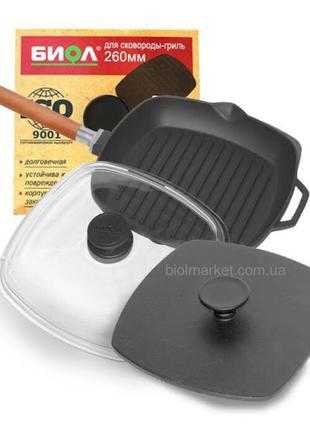 Сковорода-гриль чугунная (280 мм) комплект Арт.10283С