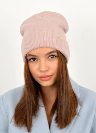 Модная женская шапка теплая на флисе розовая хлопковая