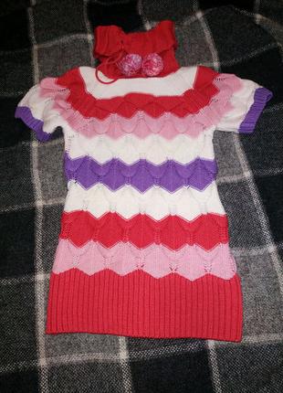 Туника теплая, свитер вязаный для девочки