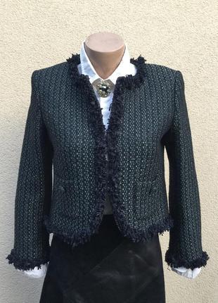 Твидовый,шерстяной жакет,пиджак,блейзер с бахромой,стиль шанель