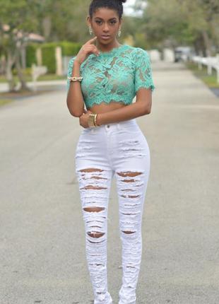 💖💖💖новые женские белые рваные джинсы 22 р. alice & you💖💖💖