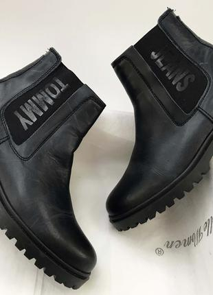 Челси женские Tommy Hilfiger ботинки черные новые кожаные