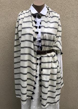 Большой шарф,палантин полоску,шерсть-шелк,white label,люкс бренд
