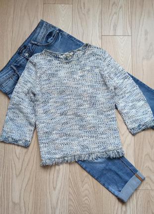 Теплый серый пуловер, джемпер, меланж, m-l