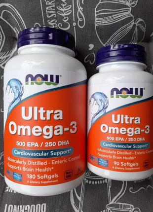 Now Foods, Ультра Омега-3, 500 EPA/250 DHA, 90/180 шт Ultra Omega
