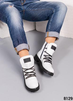 Кожаные женские зимние ботинки натуральная итальянская кожа