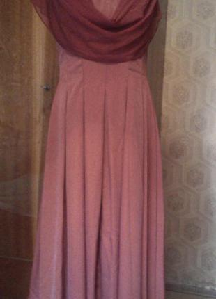 Платье вечернее с драпированным контрастным несъёмным шарфом