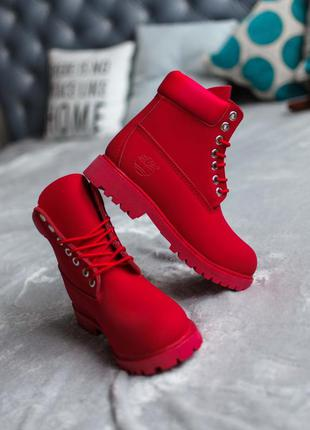 Timberland red женские ботинки тимберленд красные термо