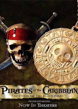 Золотой Кулон «Монета Ацтеков» медальон Пираты Карибского Моря