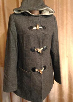 Пальто с меховым капюшоном, осень/ весна размер 12 l