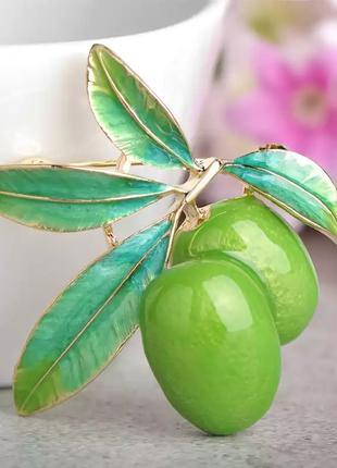 Брошь - кулон оливка/ брошка оливка